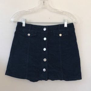 Navy Cord A-Line Mini Skirt
